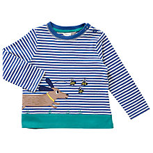 Buy John Lewis Baby Striped Running Dog T-Shirt, Blue/White Online at johnlewis.com