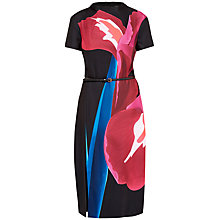 Buy Ted Baker Sianne Stencilled Stem Midi Dress, Deep Pink/Black Online at johnlewis.com