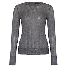 Buy French Connection Flicker Rib Crew Neck T-Shirt, Silver Online at johnlewis.com
