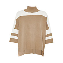 Buy French Connection Mozart Colour Block High Neck Jumper, Camel Mel/Classic Cream Online at johnlewis.com