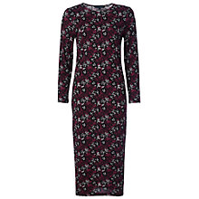 Buy French Connection Argan Rose Long Sleeve Dress, Burgundy Online at johnlewis.com