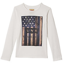 Buy Levi's Boys' Long Sleeve Erik T-Shirt, Cream Online at johnlewis.com