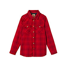 Buy Levi's Boys' Brice Check Shirt, Chilli Pepper Red Online at johnlewis.com