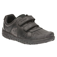 Buy Clarks Children's Bronto Step School Shoes, Black Online at johnlewis.com