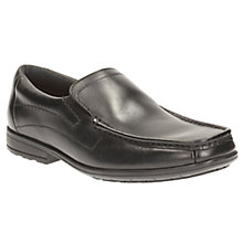 Buy Clarks Children's Greinton Go Leather Slip-On School Shoes, Black Online at johnlewis.com