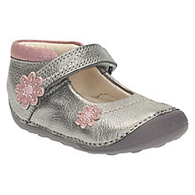 Buy Clarks Baby Children's Fizzi Metallic Pre Walker Shoes, Metallic/Silver Online at johnlewis.com