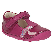 Buy Clarks Children's Little Caz T-Bar Shoes, Pink Online at johnlewis.com