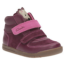 Buy Clarks Children's Crazy Irene Suede First Shoes, Plum Online at johnlewis.com