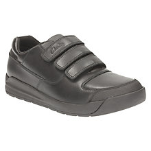 Buy Clarks Children's Flare Lite Leather School Shoes, Black Online at johnlewis.com