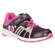 Buy Clarks Children's Gloform Reflect Sports Shoes, Purple Online at johnlewis.com