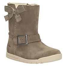 Buy Clarks Children's Suede Zip Boots, Walnut Online at johnlewis.com