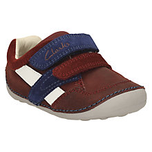 Buy Clarks Tiny Zak Leather Rip-Tape Shoes, Brown Online at johnlewis.com