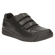 Buy Clarks Children's Monte Lite Leather School Shoes, Black Online at johnlewis.com