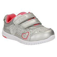 Buy Clarks Children's Azon Maze Trainers, Metallic Silver Online at johnlewis.com