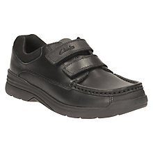 Buy Clarks Children's Obie Play Leather School Shoes, Black Online at johnlewis.com