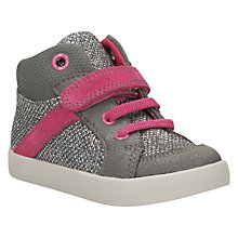 Buy Clarks Children's Juggle It Riptape And Lace Shoes, Metallic Silver Online at johnlewis.com
