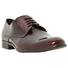 Buy Dune Redmayne Leather High Shine Derby Shoes, Bordo Online at johnlewis.com