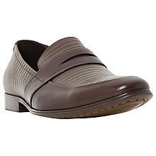 Buy Dune Rattlesnake Contrasting Leather Penny Loafers, Brown Online at johnlewis.com