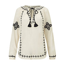 Buy Miss Selfridge Mono Gypsy Blouse, Cream/White Online at johnlewis.com