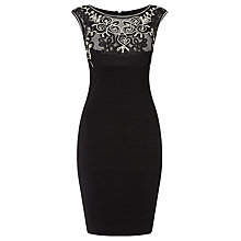 Buy Adrianna Papell Embroidery Stitch Banded Dress, Black Online at johnlewis.com