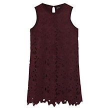 Buy Karen Millen Vintage Lace Knit Dress, Dark Red Online at johnlewis.com