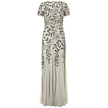 Buy Adrianna Papell Floral Beaded Gown, Silver Online at johnlewis.com