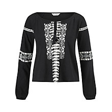 Buy Miss Selfridge Embroidered Top, Black Online at johnlewis.com