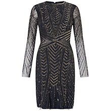 Buy Adrianna Papell Long Sleeve Beaded Cocktail Dress, Navy Online at johnlewis.com