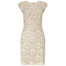 Buy Aidan Mattox Boat Neck Beaded Open Back Cocktail Dress, Champagne Online at johnlewis.com
