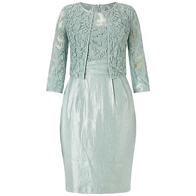 Adrianna Papell Origami Waist Sheath Dress With Bolero Jacket, Icy Mint