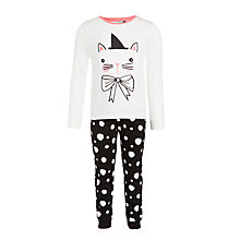 Buy John Lewis Girls' Night Glow Cat Print Pyjamas, White/Multi Online at johnlewis.com