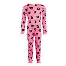 Buy John Lewis Children's Furball Monster Jersey Onesie, Pink Online at johnlewis.com