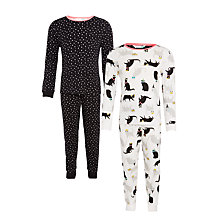 Buy John Lewis Girls' Cat and Stars Glow Pyjamas, Pack of 2, Black/Multi Online at johnlewis.com