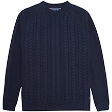 Buy Joules Hearth Cable Knit Jumper, Navy Online at johnlewis.com