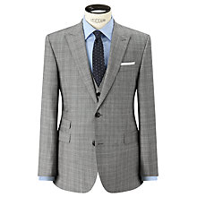 Buy John Lewis Super 100s Wool Cashmere Milled Check Tailored Suit Jacket, Grey Online at johnlewis.com