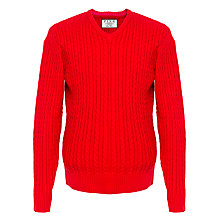 Buy Thomas Pink Butterfield Cable Knit Cotton Jumper, Red Online at johnlewis.com
