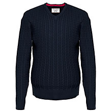 Buy Thomas Pink Butterfield Cable Knit Cotton Jumper, Navy Online at johnlewis.com