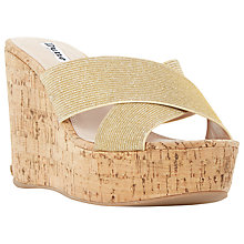 Buy Dune Karmen Cross Strap Mule Wedge Sandals, Gold Fabric Online at johnlewis.com