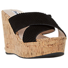 Buy Dune Karmen Cross Strap Mule Wedge Sandals, Black Leather Online at johnlewis.com