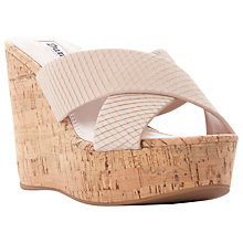 Buy Dune Karmen Cross Strap Mule Wedge Sandals, Nude Leather Online at johnlewis.com