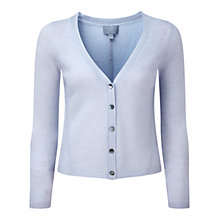 Buy Pure Collection Trinity Gassato Cashmere V-Neck Cardigan, Blue Whisper Online at johnlewis.com