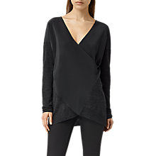 Buy AllSaints Silk Blend Twist Jumper, Cinder Black Marl Online at johnlewis.com