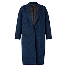 Buy Jigsaw Cloquet Jacquard Coat, Indigo Online at johnlewis.com