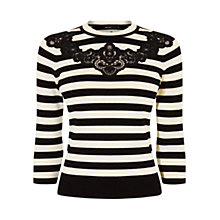 Buy Karen Millen Compact Stretch Knits Jumper, Black/White Online at johnlewis.com