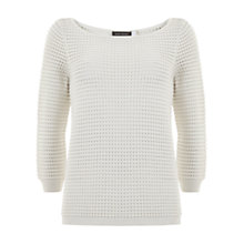 Buy Mint Velvet Stripe Rib Knit Jumper, Ivory Online at johnlewis.com