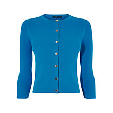 Buy Karen Millen Ribbed Cardigan, Turquoise Online at johnlewis.com