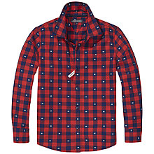 Buy Tommy Hilfiger Boys' Cotton Check Shirt, Medieval Blue/Red Online at johnlewis.com