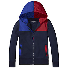 Buy Tommy Hilfiger Boys' Zip Through Colour Block Hoodie, Navy Online at johnlewis.com