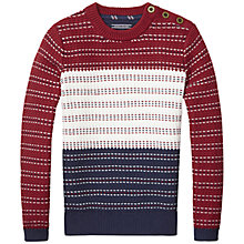 Buy Tommy Hilfiger Boys' Crew Neck Jumper, Red/Multi Online at johnlewis.com