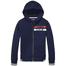 Buy Tommy Hilfiger Boys' Zip Through Cotton Blend Hoodie, Navy Online at johnlewis.com